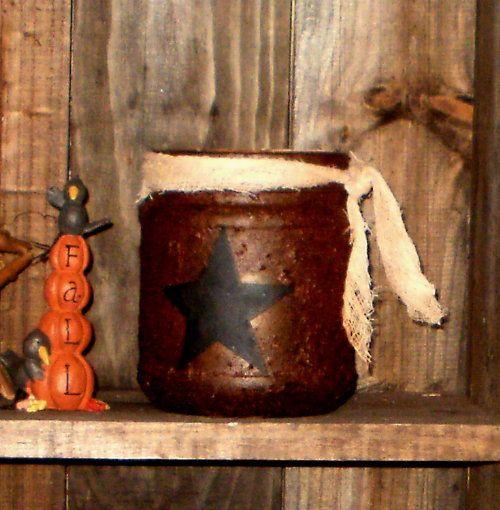 Primitive Grubby Star or Crow Jar Tea Light Holder-Tea Light Holder, made with modge podge and cinnamon mix