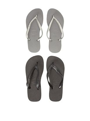 27% OFF Havaianas Unisex Flip Flop - 2 Pack (Black/Grey)