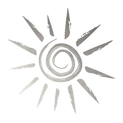 Silver Sun - Original Fashiontats Metallic Jewelry Temporary Tattoos. Perfect to Wear At the Beach on Your Next Tropical Vaction. Lasts 5-7 days even with swimming and bathing!. Easy to put on and easy to remove!. Skin safe ingredients.