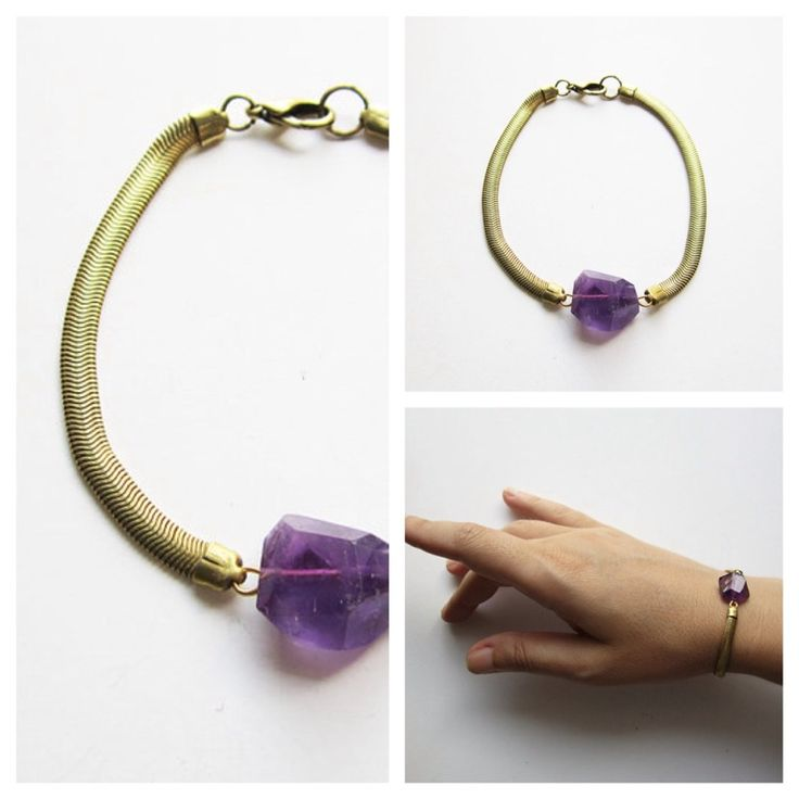 Amethyst stone bracelet with gold plated brass