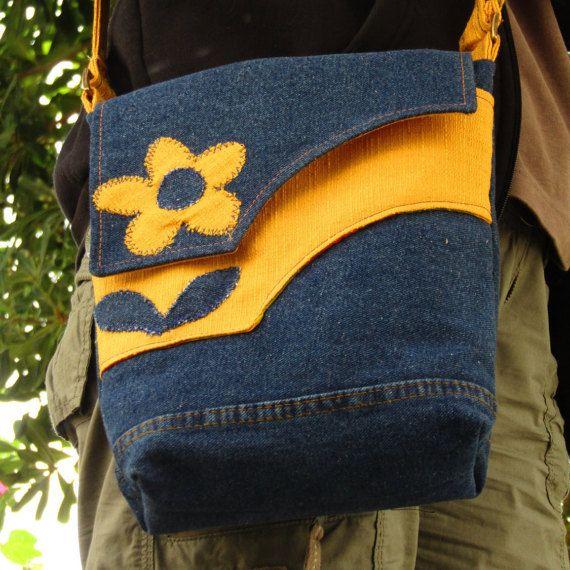 Upcycled denim crossbody messenger bag