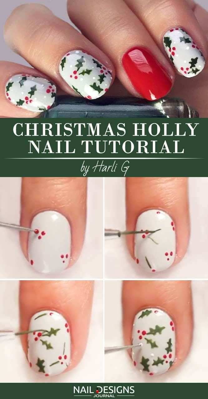 10 Charming Christmas Nail Art Tutorials You'll Adore: #1. Christmas Holly Nai…