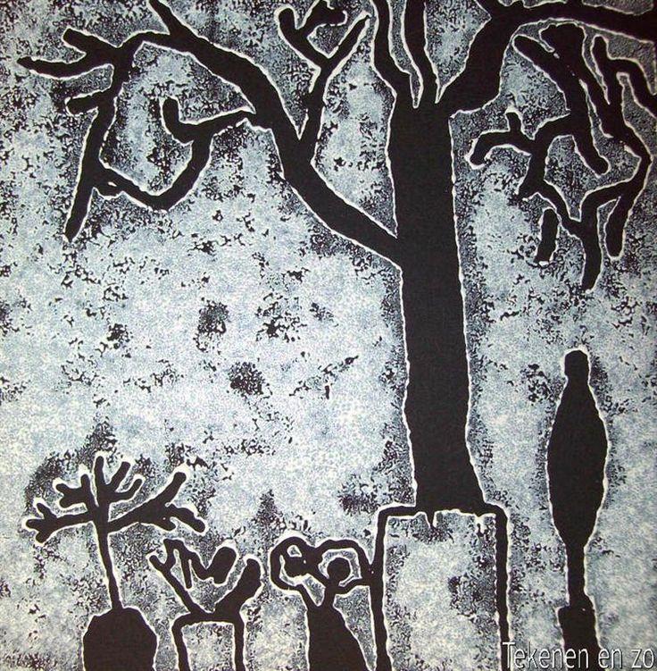 Door Jeffrey, groep 7 Benodigdheden: zwart knutselpapier van 20 bij 20 cm stukje linoleum van 20 bij 20 cm potlood gutsjes drukpers witte bl...
