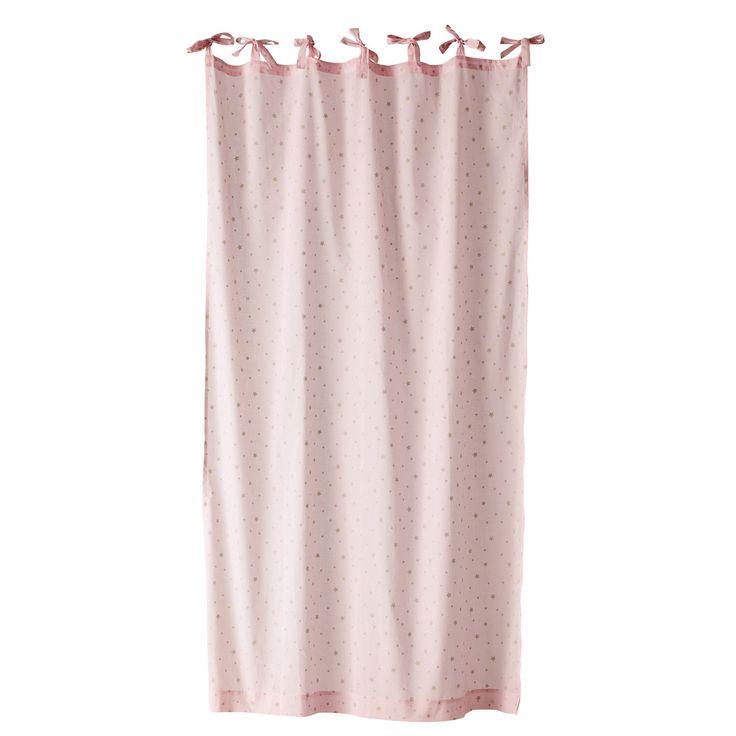 Cortina con lazos de algodón rosa 102×250cm ÉTOILE