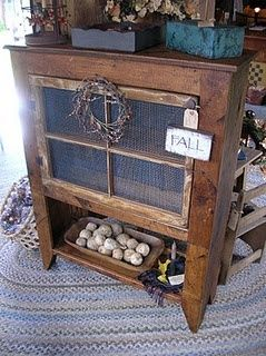 LOVE this site!!! Its called Primitive Souls and has lots of neat ideas on how to build your own stuff that looks old and antiquey!: Diy Ideas, Call Primitive, Prime Decor, Window Panes, Neat Ideas, Old Window, Primitive Soul, Window Cabinets, Primitive Decor