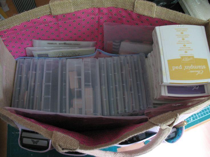 Gepimte AH tas. Helemaal gevuld met Stampin'Up! spullen.