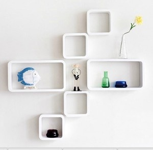 Details About Set Of 6 Wall Cube Amp Rectangle Shelves Storage Display White Back In Store New