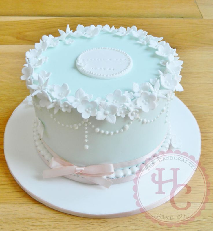 """Ice Pearl""  ~  		7"" extra deep pearl  celebration cake."