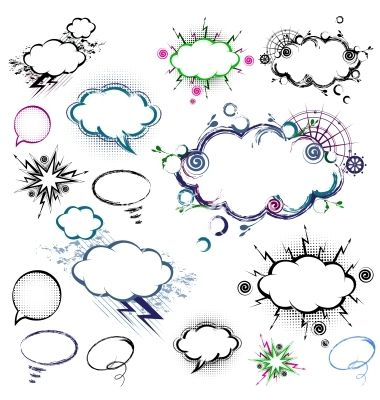 Collection of comic style speech bubbles vector