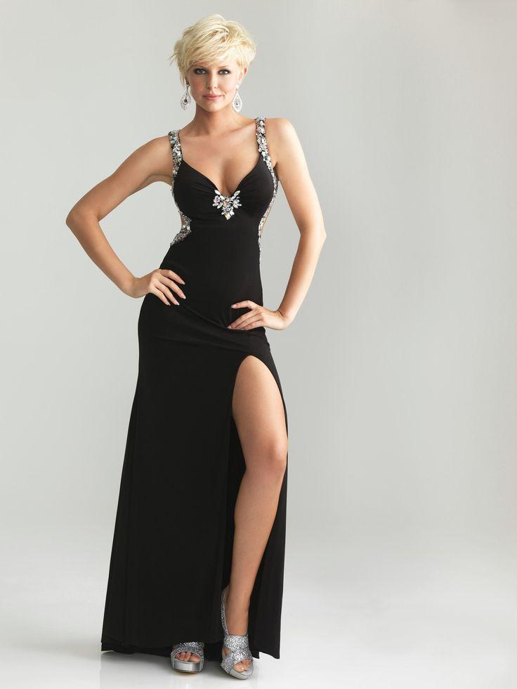black-chiffon-spaghetti-strap-floor-length-sheath-column-evening-dress-