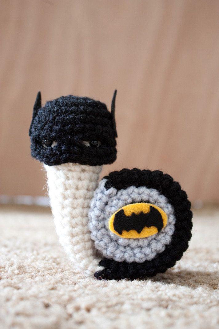 Superhero snails Batsnail crochet amigurumi by FallenDesigns