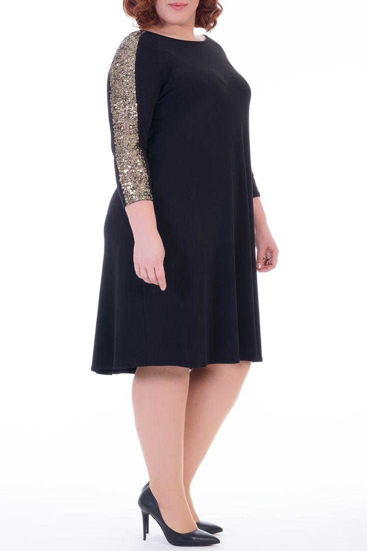 Mangolino Dress - Valeria Fratta Büyük Beden Payet Detay Elbise VF1630 -Siyah 44-54