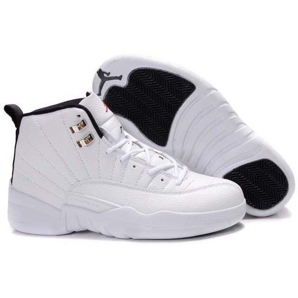 New Air Jordan 12 (XII) Retro All White Black ? liked on Polyvore featuring