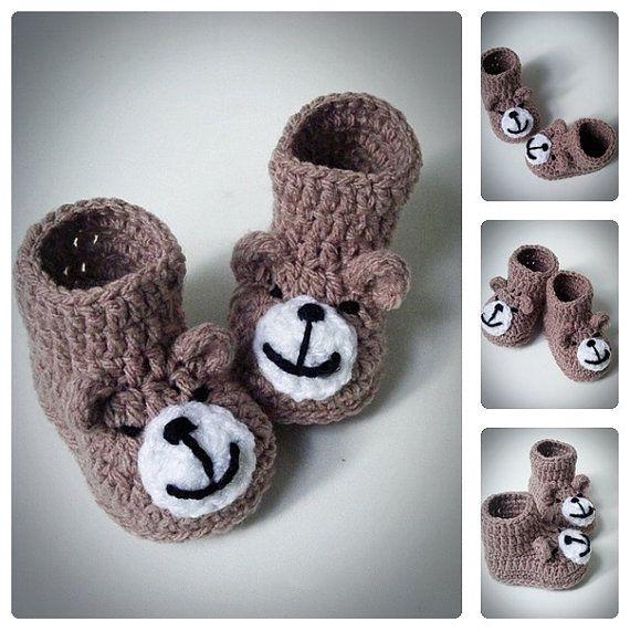 Вязание крючком Мишка Тедди Детские пинетки, вязание крючком обувь, Детская обувь, новорожденных и младенцев пинетки, сапоги для новорожденных, подарок душа ребенка, все размеры