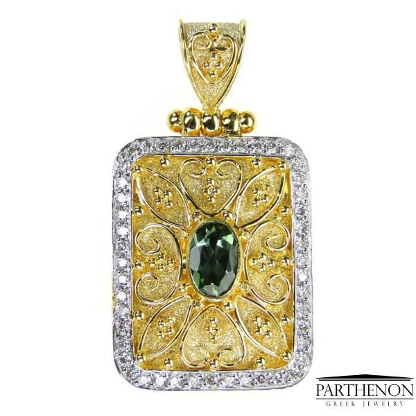 Damaskos Handmade Byzantine Pendant 18k Solid Gold Diamonds #Damaskos #PendantCharms