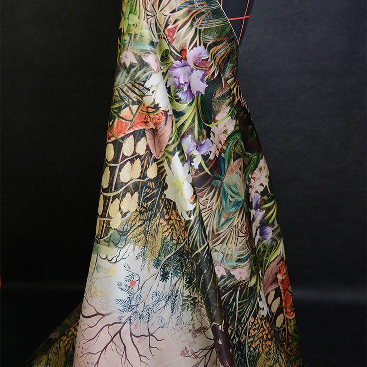 "Floral and trees print 100% silk organza silk fabric 16momme 55"" width,SOZ052 sld 20+fr"