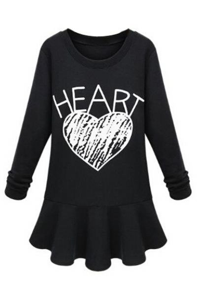 Heart Graffiti French Terry Flounced Dress