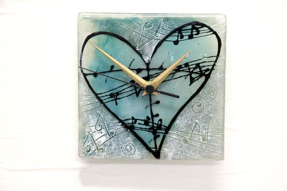 Musical heart Wall Clock Fused glass art wall by virtulyglass