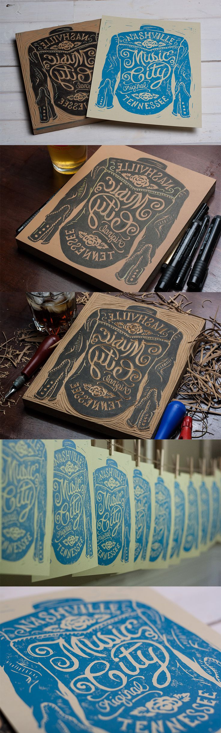 Block printing - Illustration - Hand lettering - Music-city-process