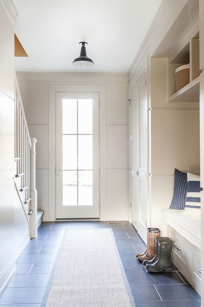 Farmhouse Mudroom Neutral farmhouse mudroom with slate