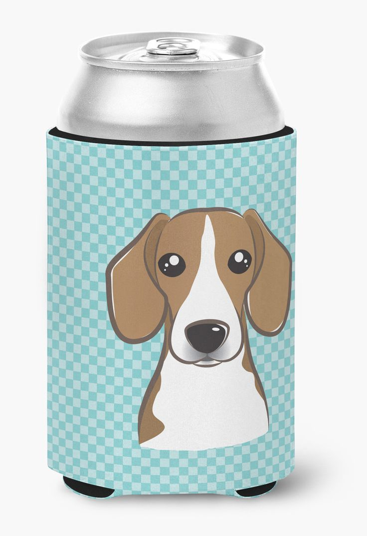 Checkerboard Blue Beagle Can or Bottle Hugger BB1177CC