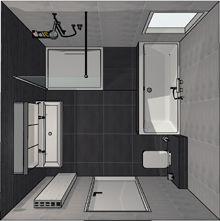 Badkamer ontwerp met een bad, douche en badkamermeubel