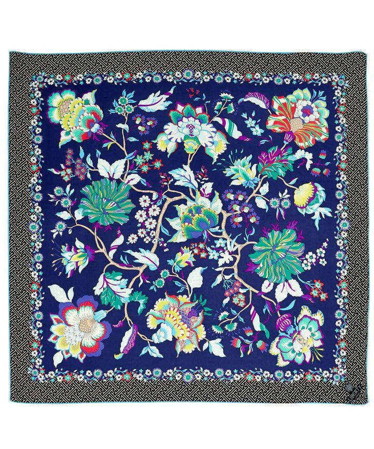 Liberty London Navy Christelle Silk Twill Scarf | Silk Scarves by Liberty London | Liberty.co.uk