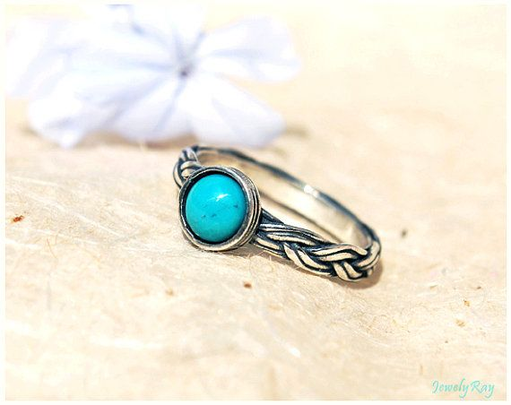 turquoise engagement ring sterling silver and turquoise ring engagement ring december birthstone ring braided silver ring