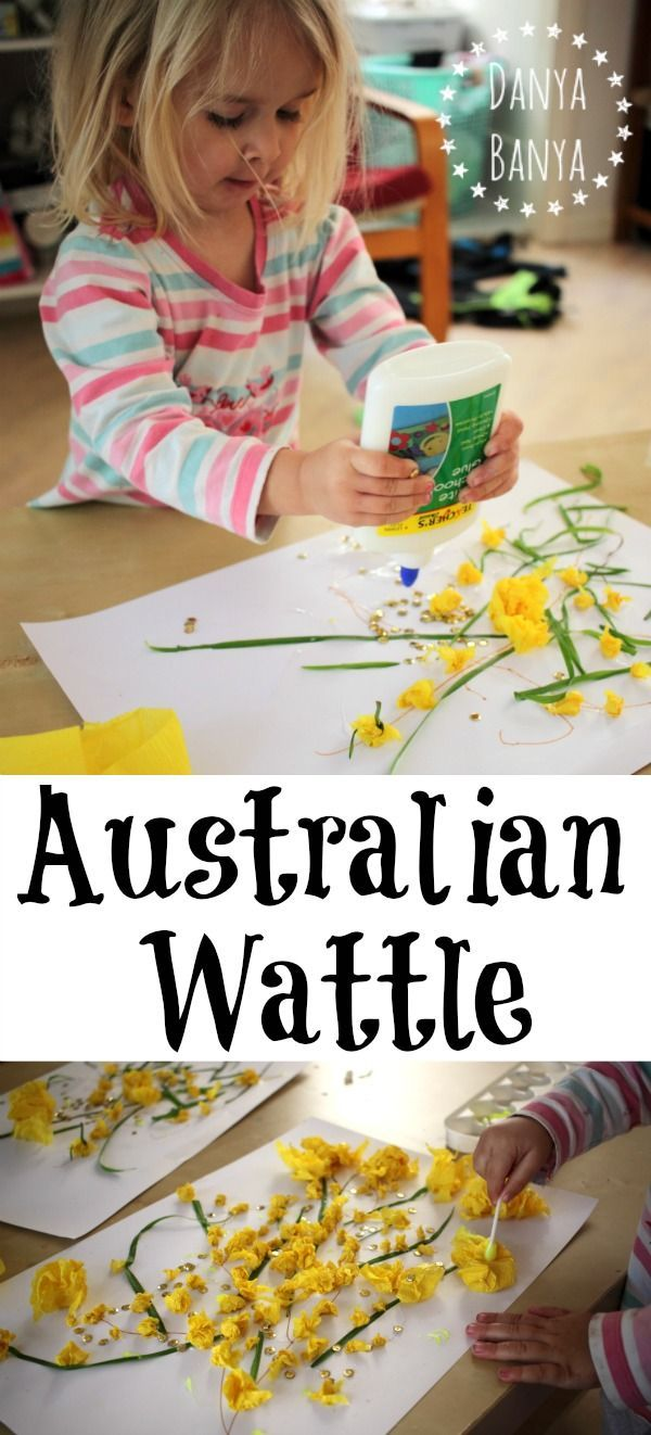Australian Golden Wattle collage art and craft for kids, to learn about Australia's national flower. This would make a great toddler or preschool activity - my 2.5 year old toddler was able to do all the elements herself. ~ Danya Banya