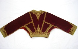 """Front and back of a """"kondogouni"""" """"Amalia"""" jacket made of old red velvet and gold applied embroidery with a straight sleeve.  - mi 19e - http://www.texmedindigitalibrary.eu/?browse=location=9"""