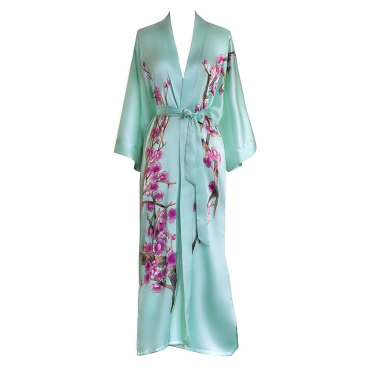 Silk Kimono Long Robe - Handpainted Cherry Blossom (mist)