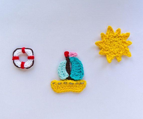 New PDF Crochet Pattern Sailboat Life: Sun Appliques, Crochet Motif, Appliques Patterns, Life Preserves, Crochet Embellishments, Crochet Patterns, Crochet Sailboats, Wall Hook