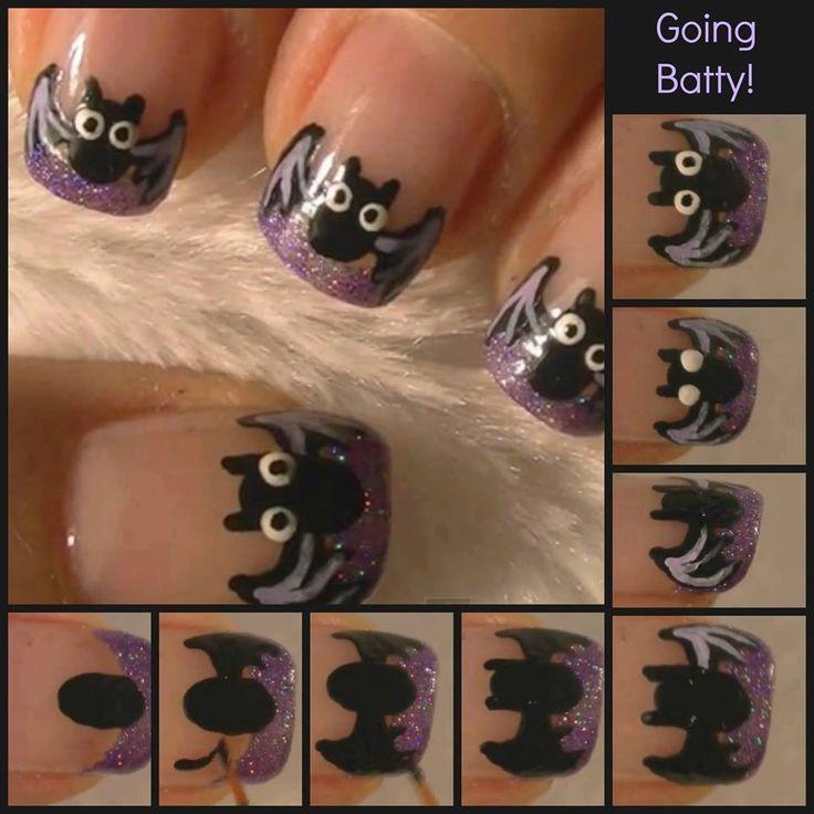 Going Batty DIY Nail Design nails paint diy design polish halloween step by step pictorial bat #halloween