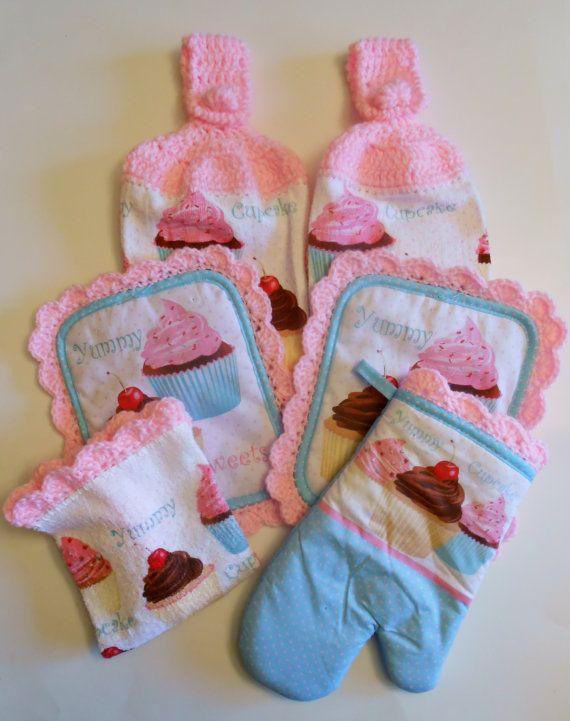 Cupcake Kitchen Decor, Hanging Towels, Pot Holders, Pink Crochet Kitchen Set, Retro
