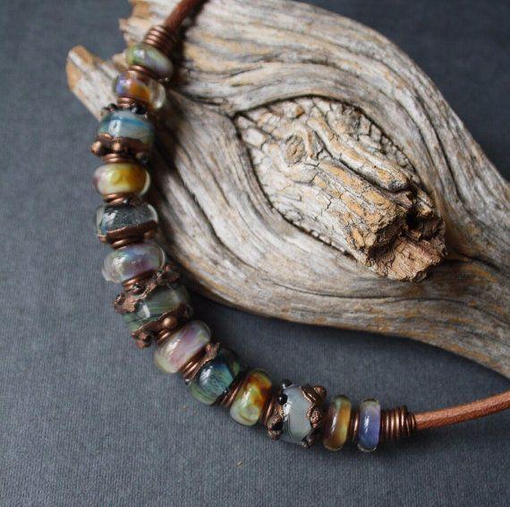 Necklace. Glass copper от LikeAGlassShop на Etsy