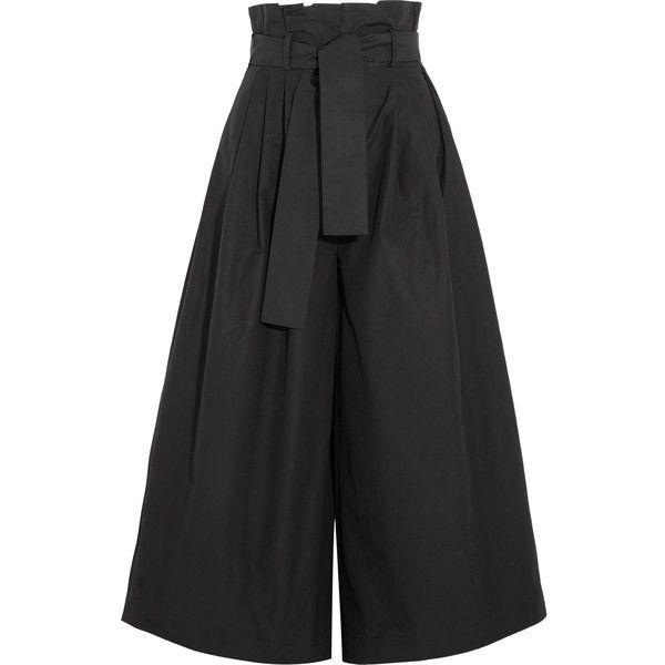 Fendi Cotton-taffeta culottes ($1,250) ❤ liked on Polyvore featuring pants, capris, black, fendi, wide leg pants, tie pants, cotton pants and wide leg cotton pants