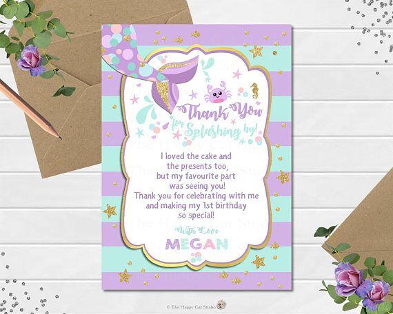 Mermaid Invitation Personalized Printable 1st Birthday