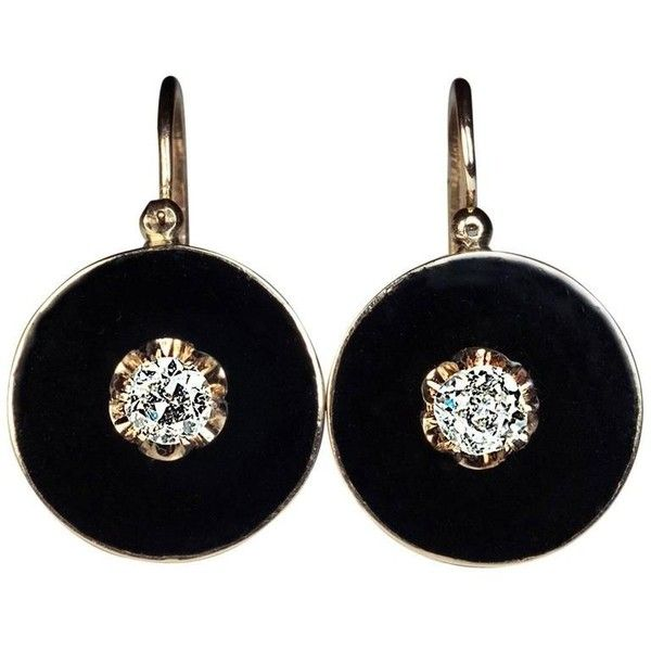 Preowned Antique Black Enamel Diamond Gold Earrings (3838250 IQD) ❤ liked on Polyvore featuring jewelry, earrings, accessories, black, 14k earrings, gold earrings, gold disc earrings, dangle earrings and long diamond earrings
