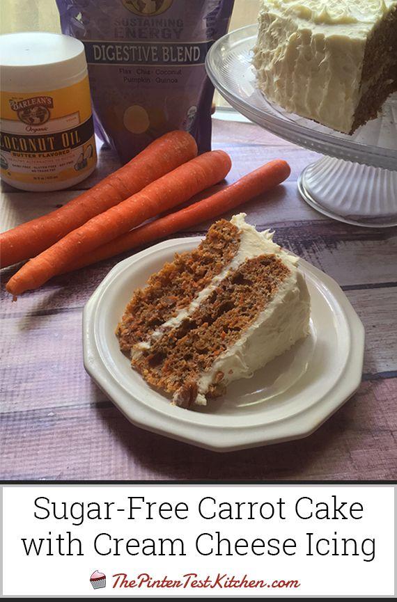 Sugar-Free Carrot Cake with Cream Cheese Icing, made using honey - no refined white sugar