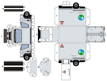 Lorry Papercraft | キャンターエコ ハイブリッド ペーパークラフト
