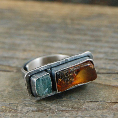 M Studio: silver ring, raw apatite and amber.