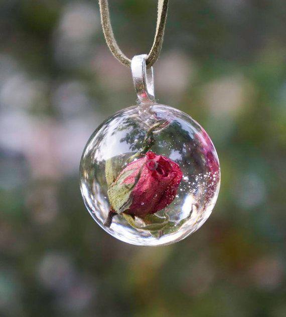Real rose necklace. Romantic real rose petal hemisphere …