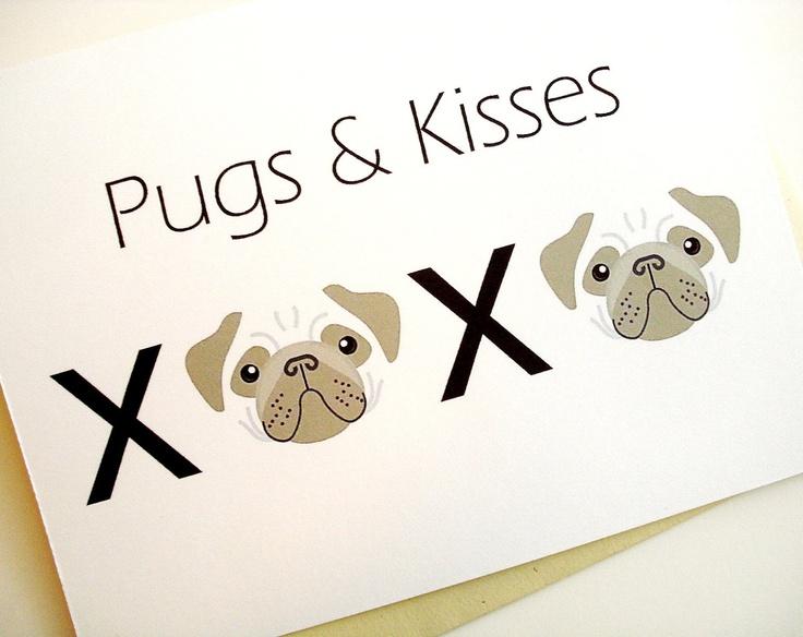 Pugs & Kisses Card. $3.95, via Etsy.