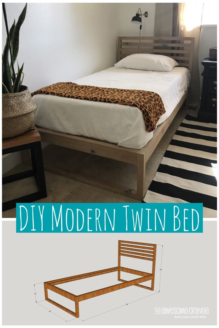 Diy Modern Twin Bed The Awesome Orange In 2020 Diy Twin Bed