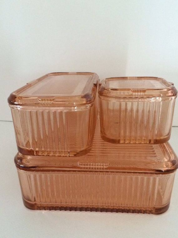 Federal Glass Pink Depression Refrigerator Bowls. Circa 1930s.
