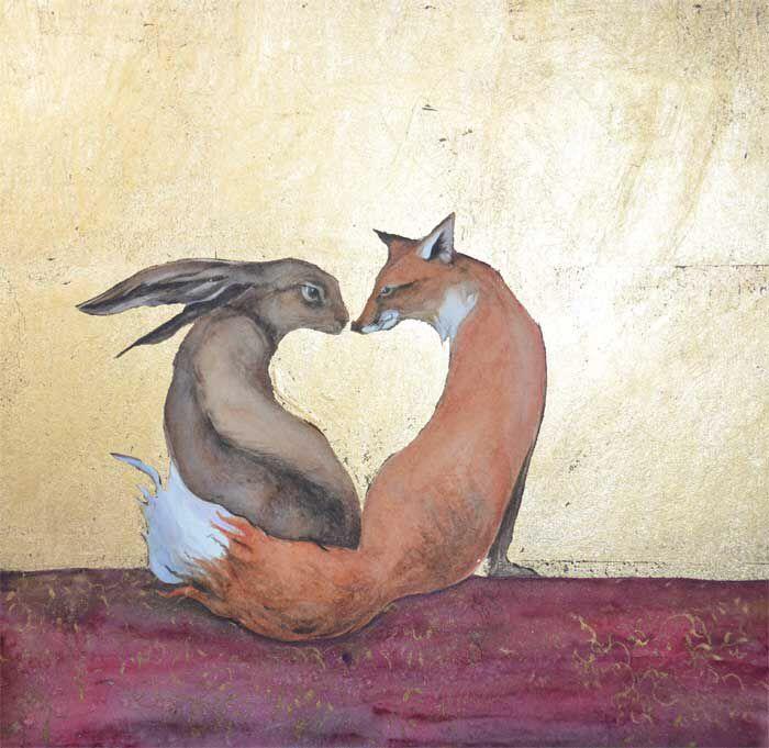 Заяц обнимает лису картинки
