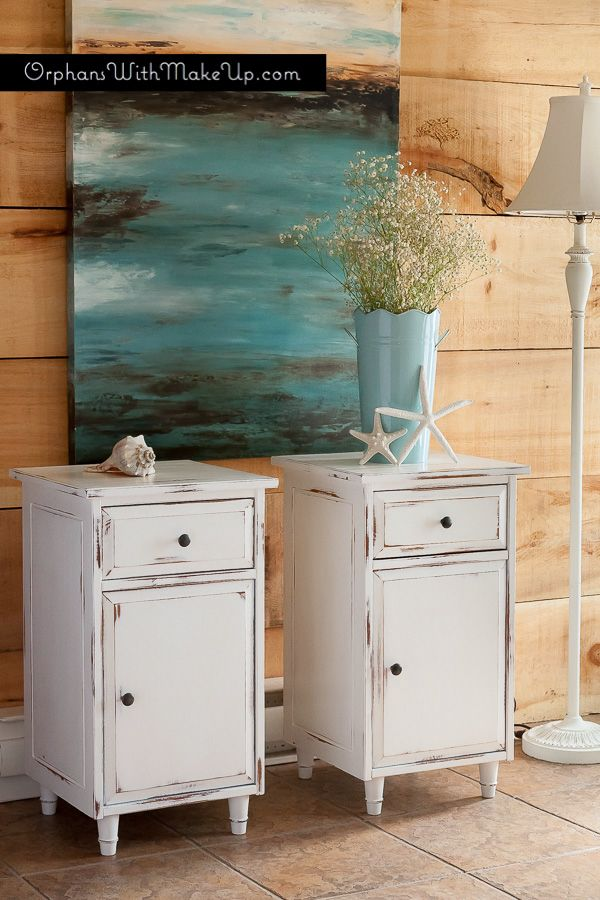 Ikea knotty pine end tables in a refreshing coastal look with Pure White Chalk Paint® decorative paint by Annie Sloan | By Orphans with makeup