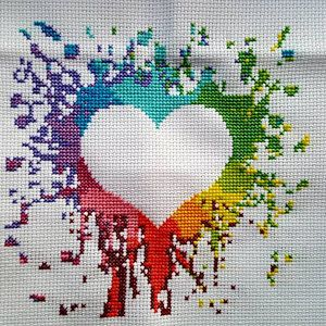 Heart cross stitch pattern Love cross stitch pattern Rainbow watercolor modern home decor Wedding gift Birthday DIY gift Counted xstitch