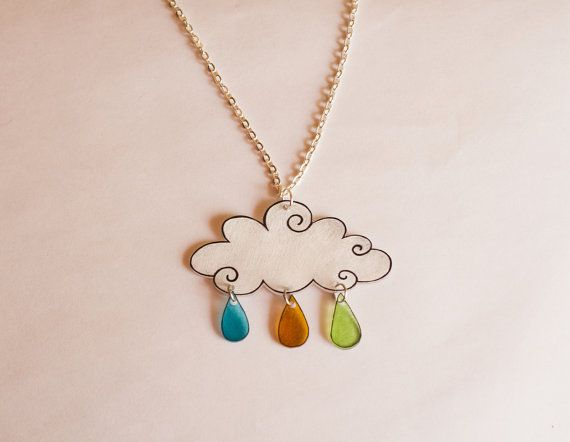 Shrink plastic necklace - cloud and colourful raindrops