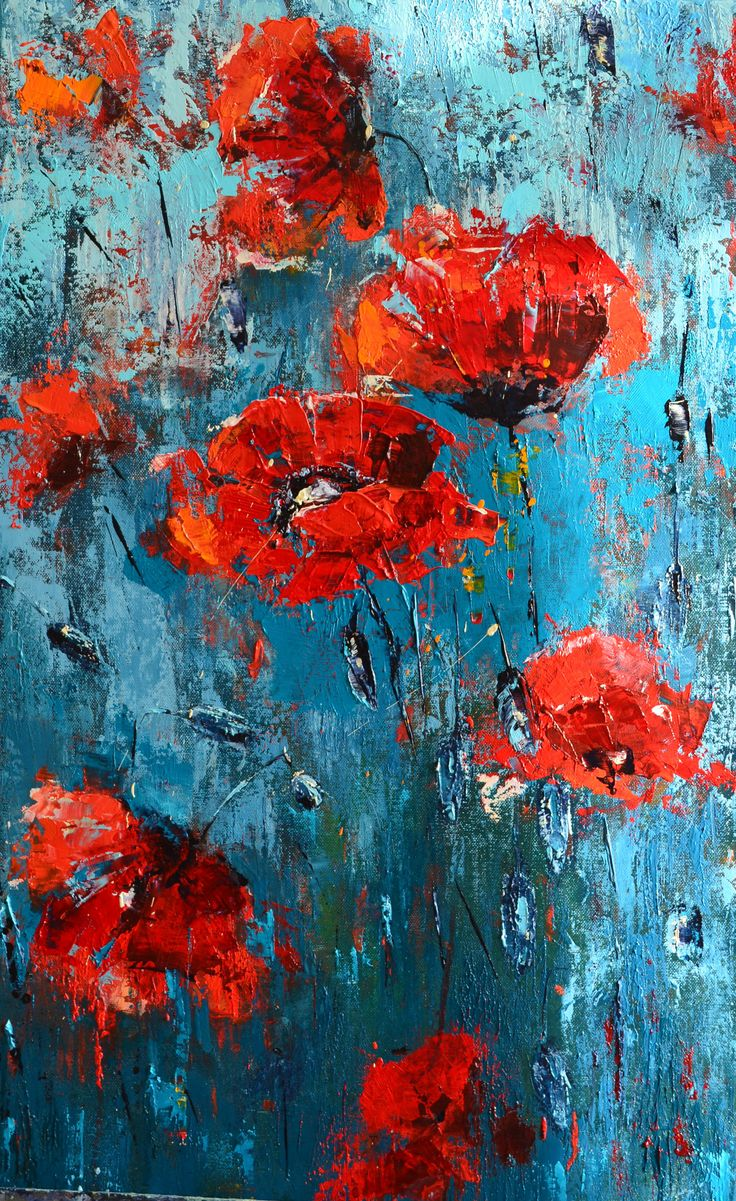 Red Poppies, Fine art, original oil painting by Olena Bogatska